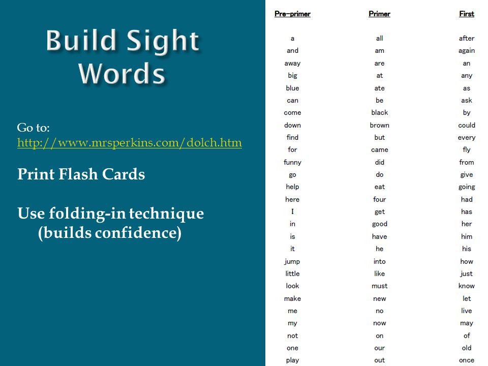 Build Sight Words Print Flash Cards Use folding-in technique
