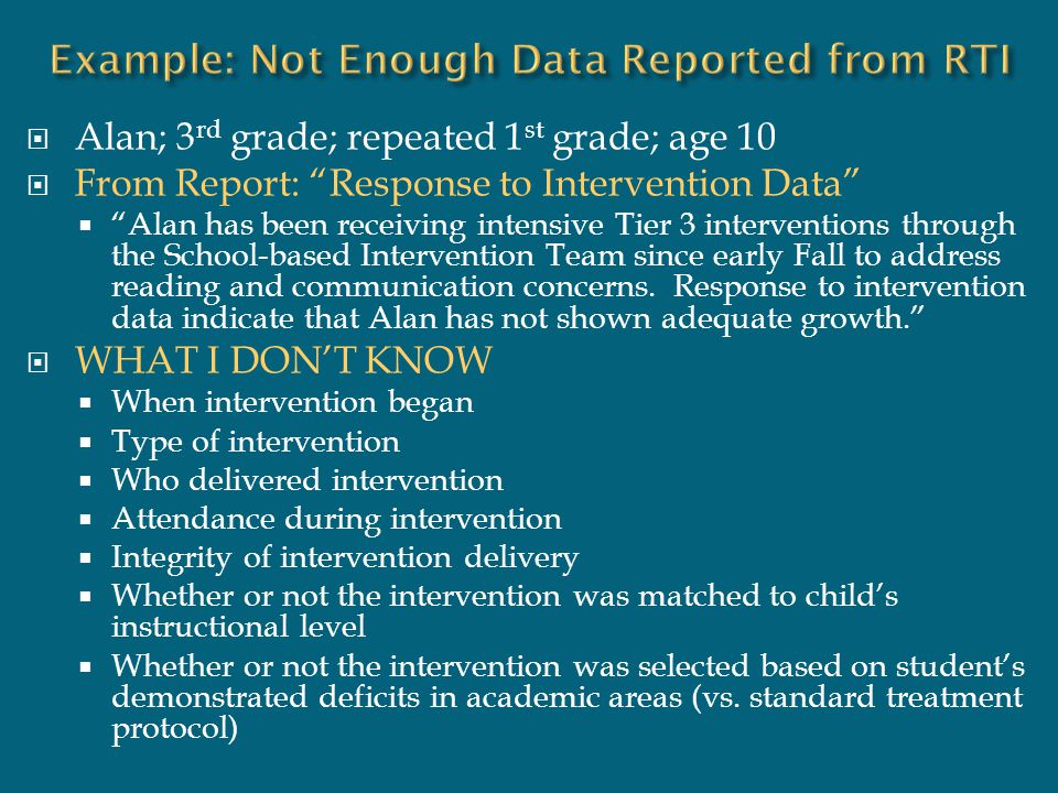 Example: Not Enough Data Reported from RTI
