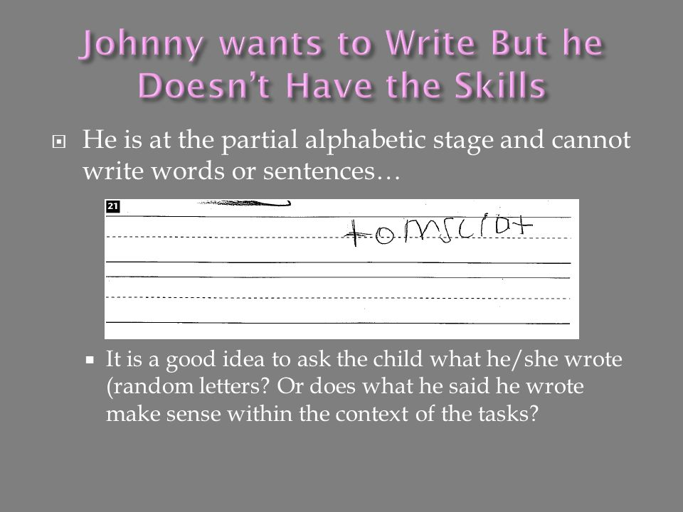 Johnny wants to Write But he Doesn't Have the Skills