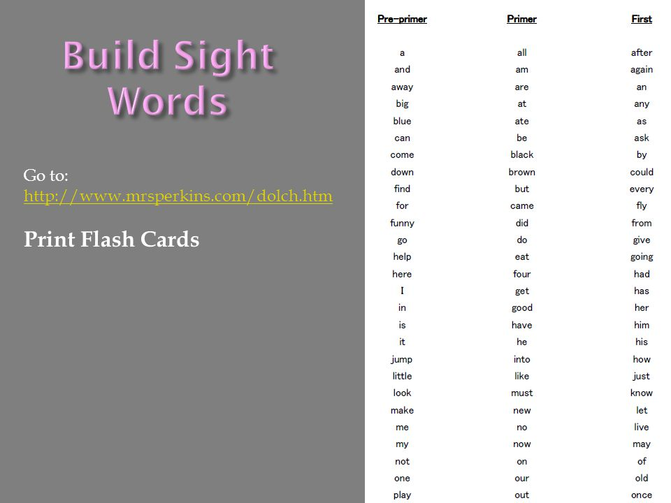 Build Sight Words Print Flash Cards