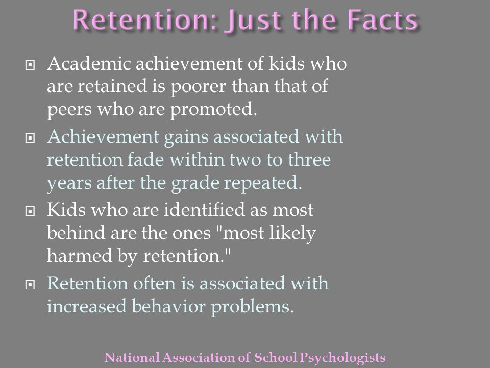 Retention: Just the Facts