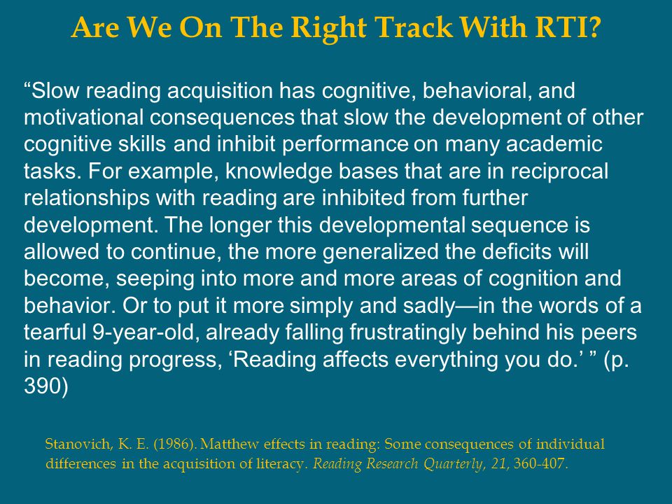 Are We On The Right Track With RTI