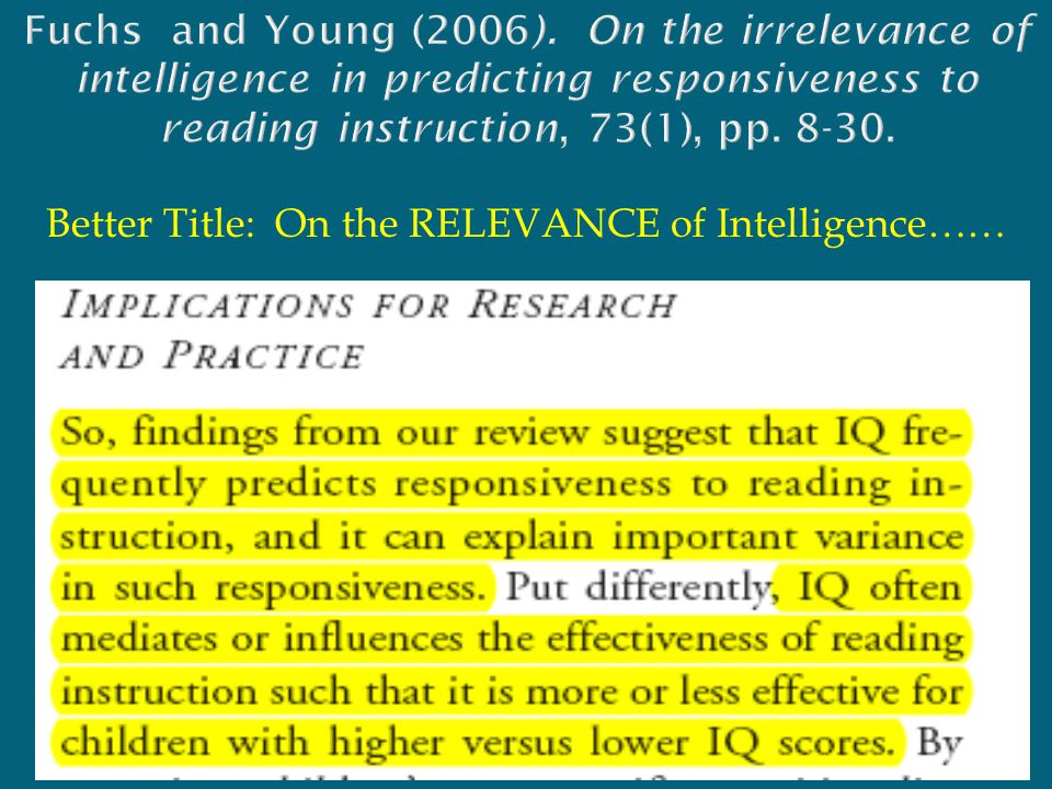 Better Title: On the RELEVANCE of Intelligence……