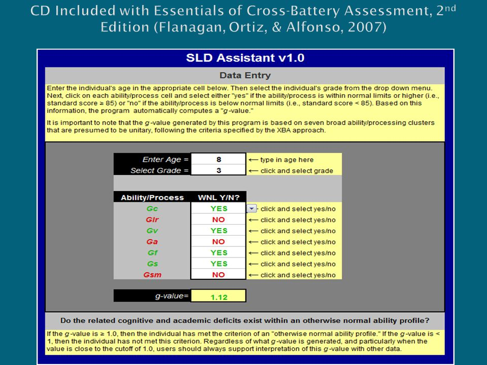 CD Included with Essentials of Cross-Battery Assessment, 2nd Edition (Flanagan, Ortiz, & Alfonso, 2007)