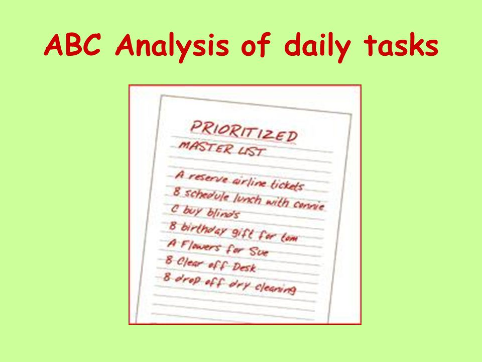 ABC Analysis of daily tasks