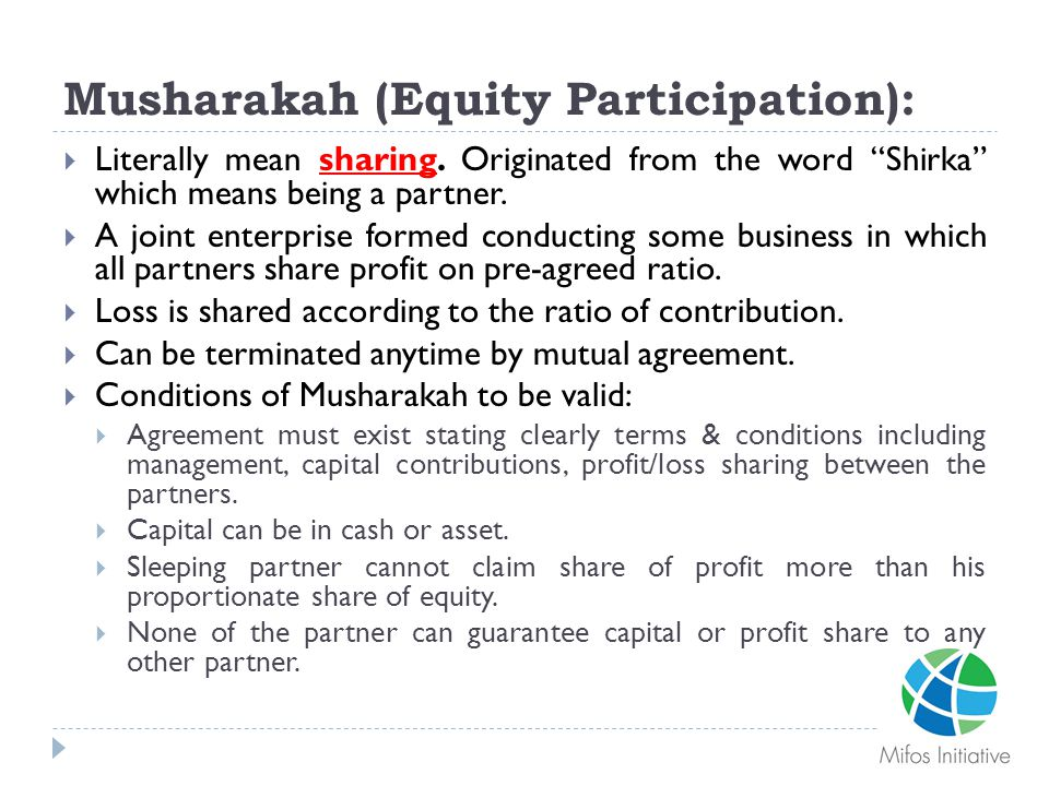 Musharakah (Equity Participation):