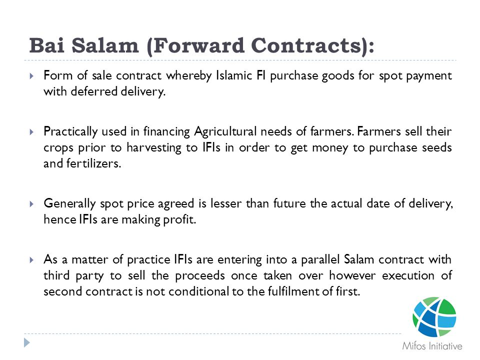 Bai Salam (Forward Contracts):