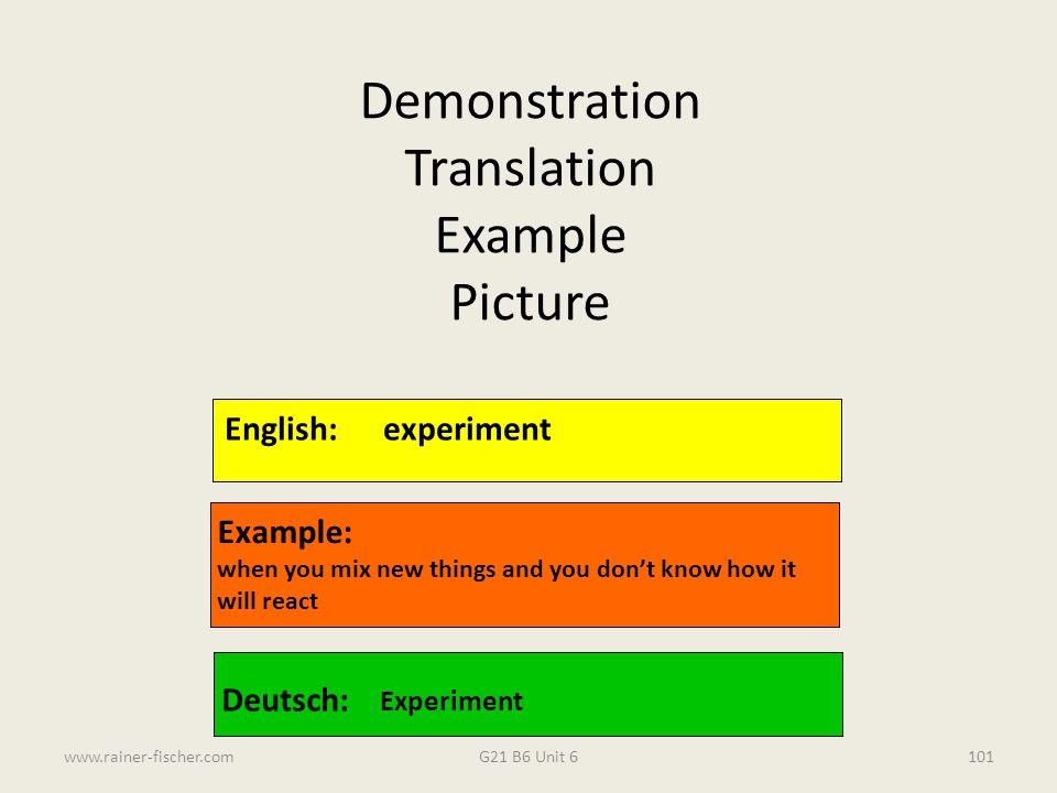 Demonstration Translation Example Picture English: experiment Example: