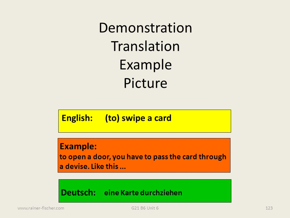 Demonstration Translation Example Picture English: (to) swipe a card