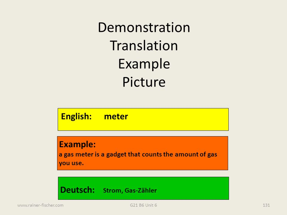 Demonstration Translation Example Picture English: meter Example: