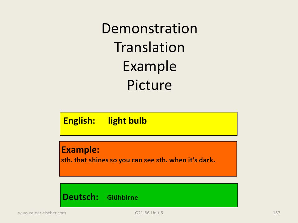 Demonstration Translation Example Picture English: light bulb Example: