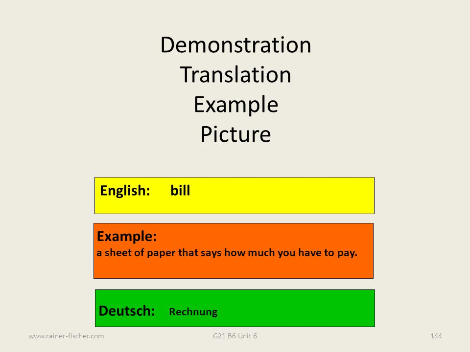 Demonstration Translation Example Picture English: bill Example: