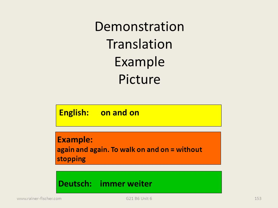 Demonstration Translation Example Picture English: on and on Example: