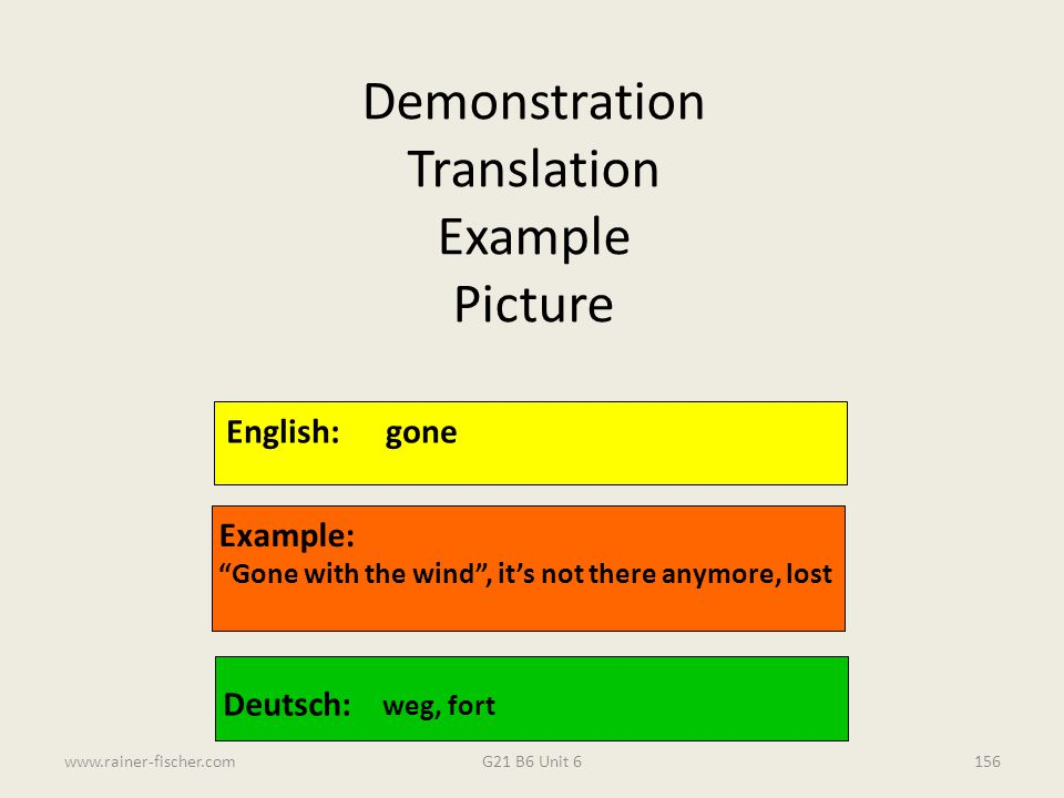 Demonstration Translation Example Picture English: gone Example: