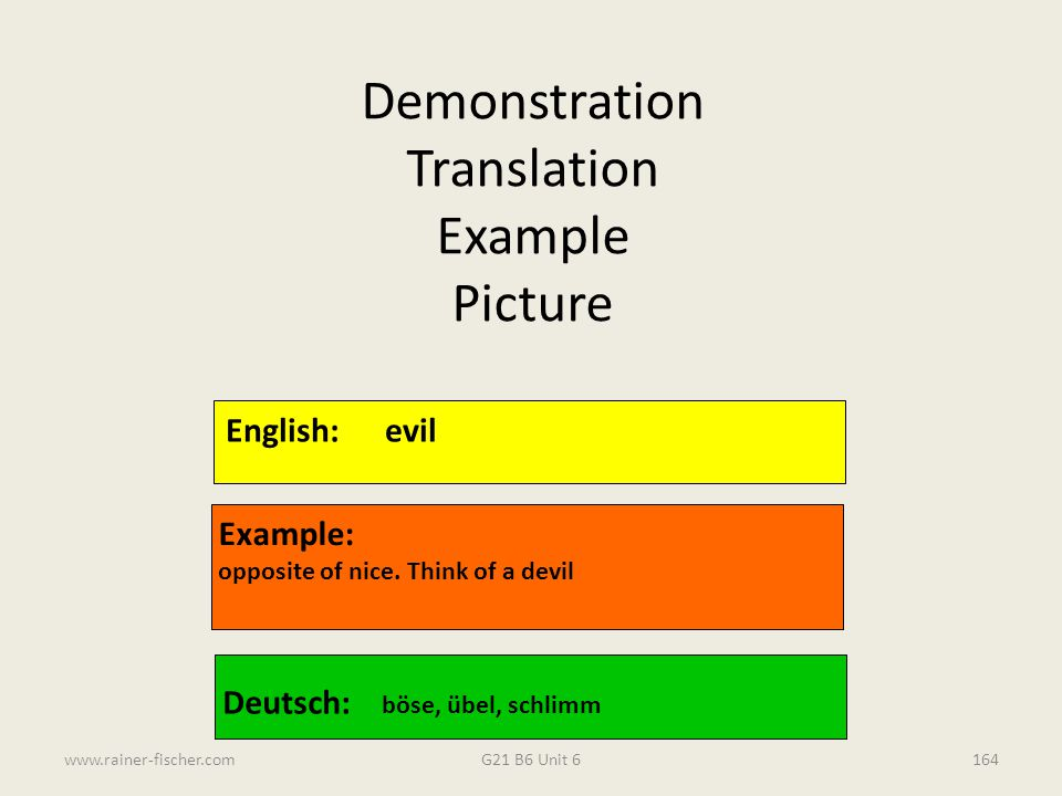 Demonstration Translation Example Picture English: evil Example: