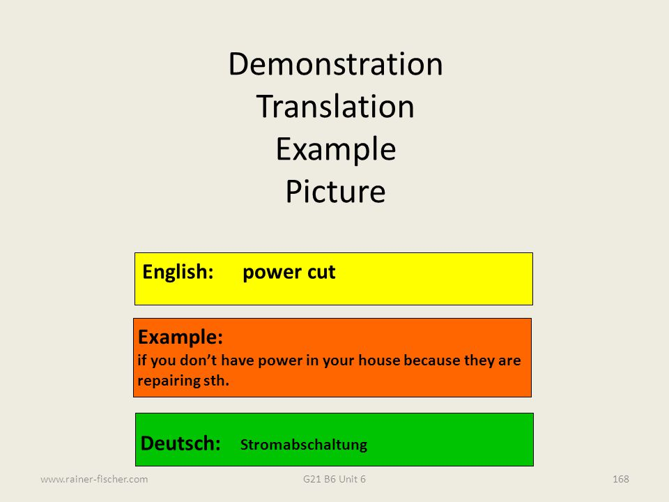 Demonstration Translation Example Picture English: power cut Example: