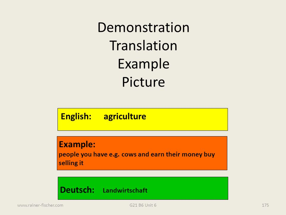 Demonstration Translation Example Picture English: agriculture