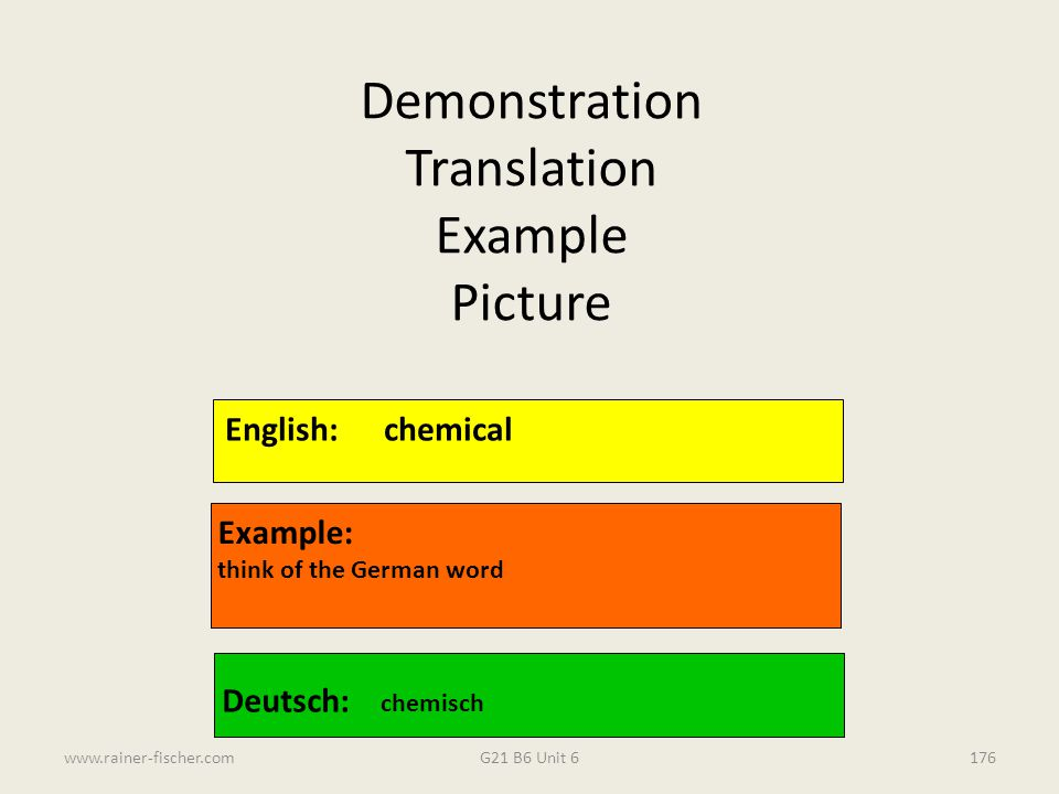 Demonstration Translation Example Picture English: chemical Example: