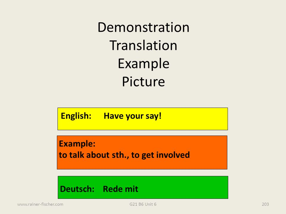 Demonstration Translation Example Picture English: Have your say!