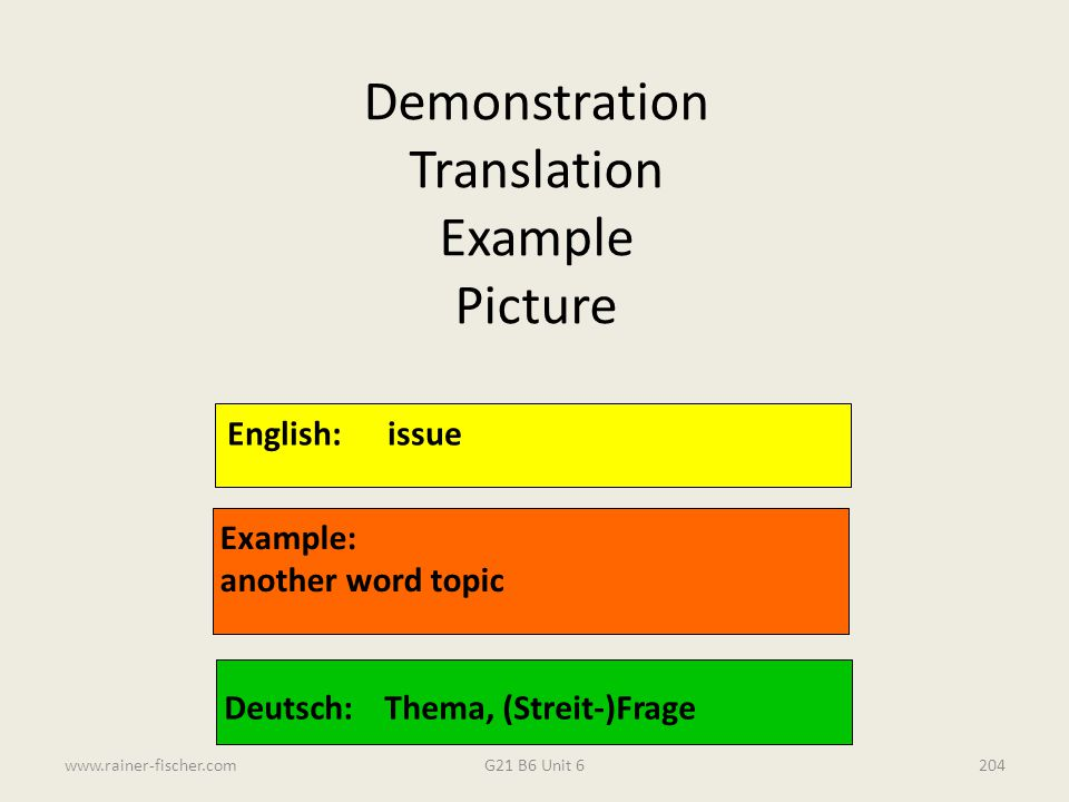 Demonstration Translation Example Picture English: issue Example: