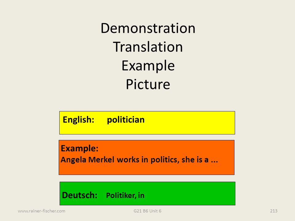Demonstration Translation Example Picture English: politician Example: