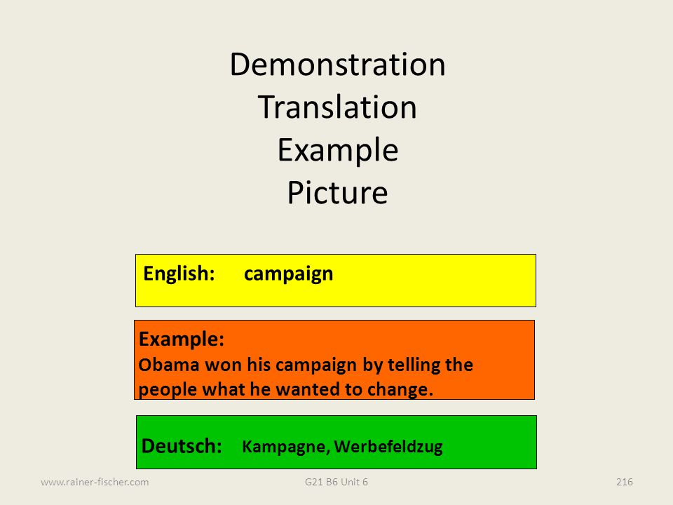 Demonstration Translation Example Picture English: campaign Example:
