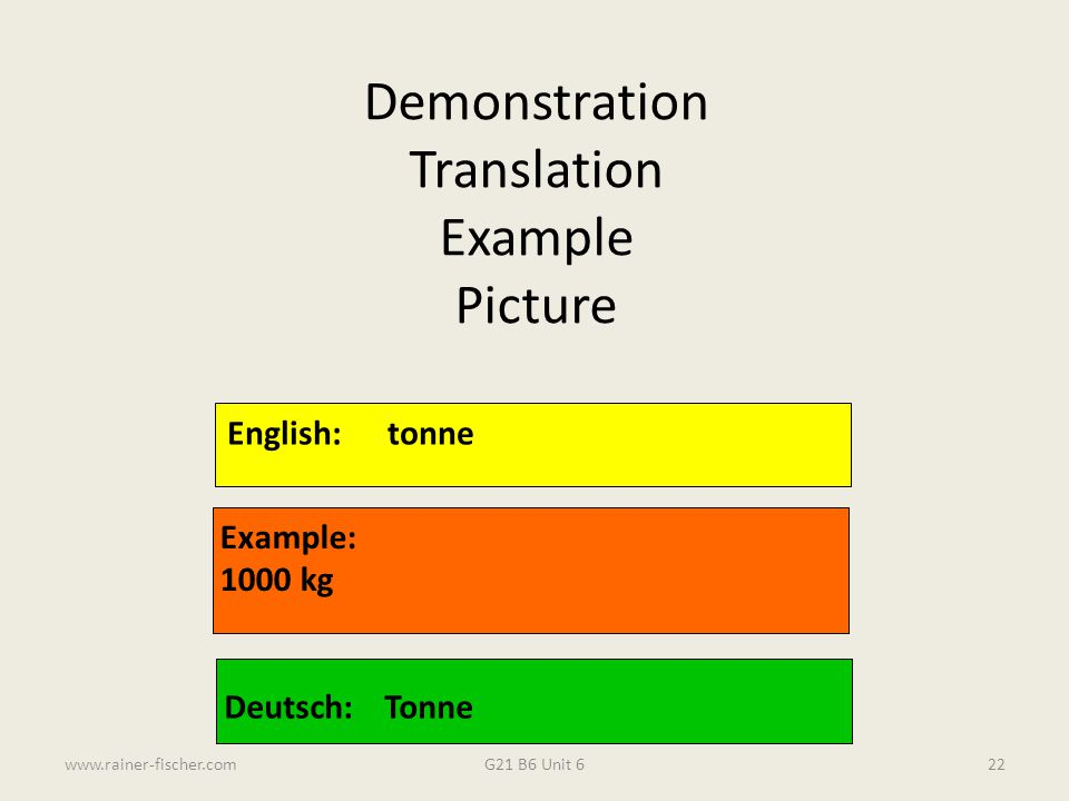 Demonstration Translation Example Picture English: tonne Example: