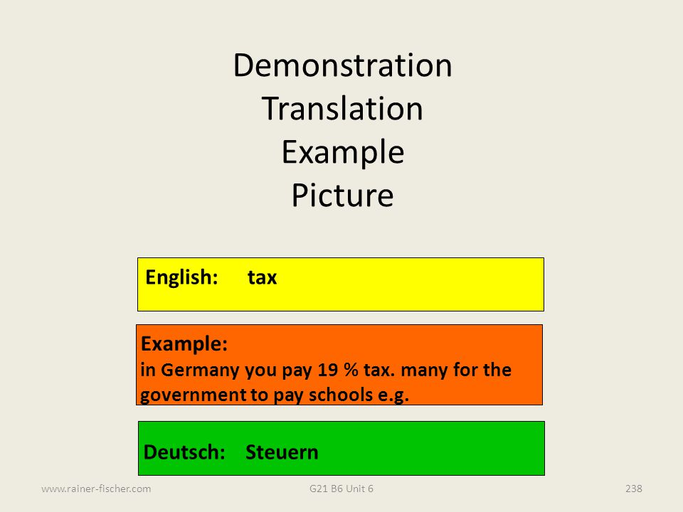 Demonstration Translation Example Picture English: tax Example: