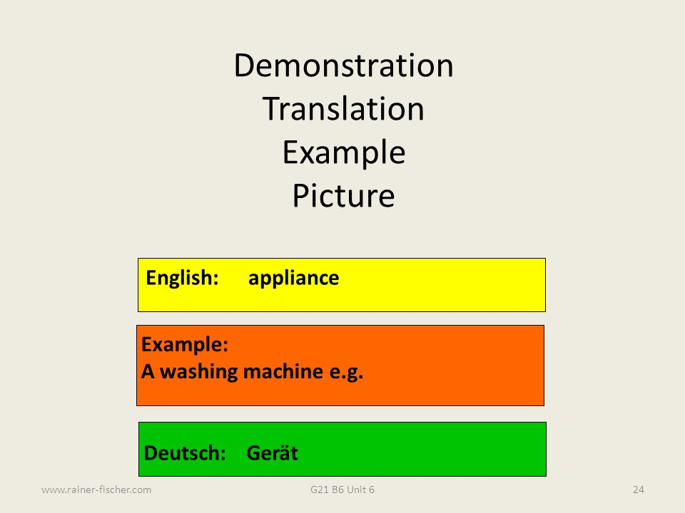 Demonstration Translation Example Picture English: appliance Example:
