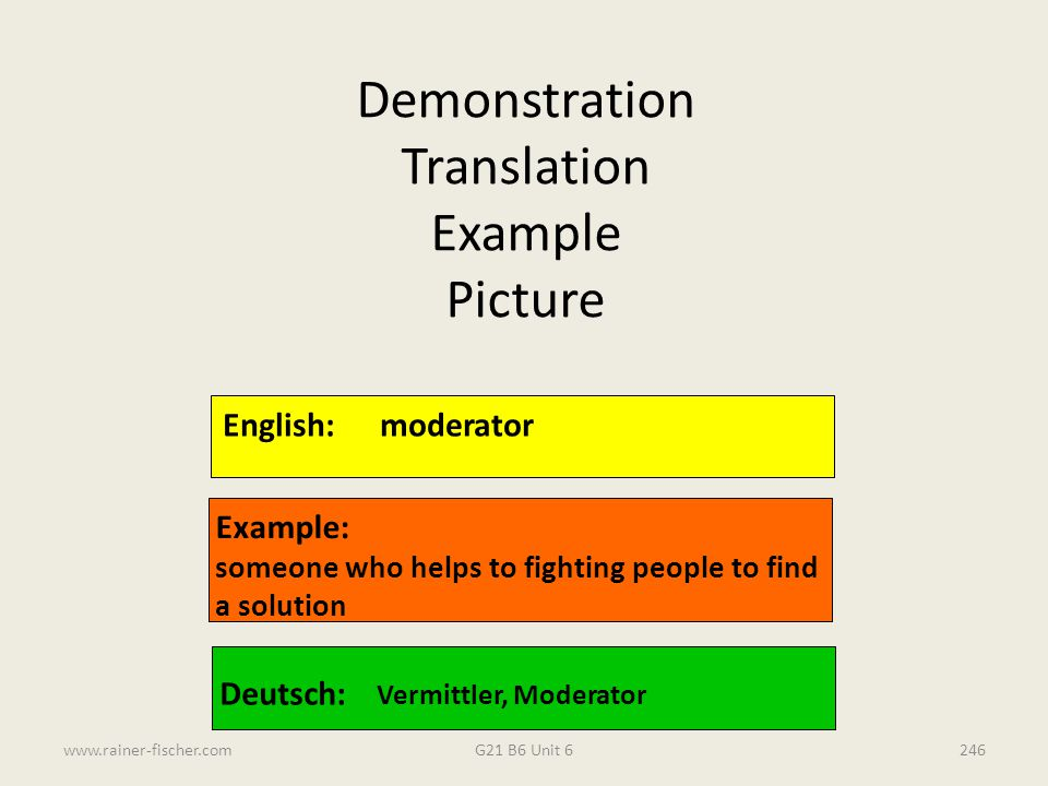 Demonstration Translation Example Picture English: moderator Example: