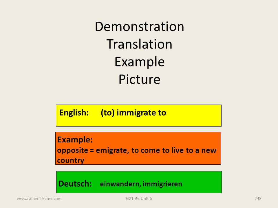 Demonstration Translation Example Picture English: (to) immigrate to