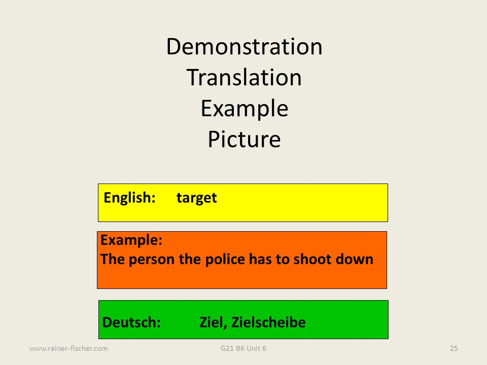 Demonstration Translation Example Picture English: target Example: