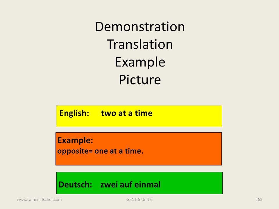 Demonstration Translation Example Picture English: two at a time