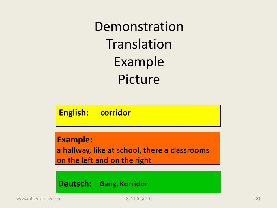 Demonstration Translation Example Picture English: corridor Example: