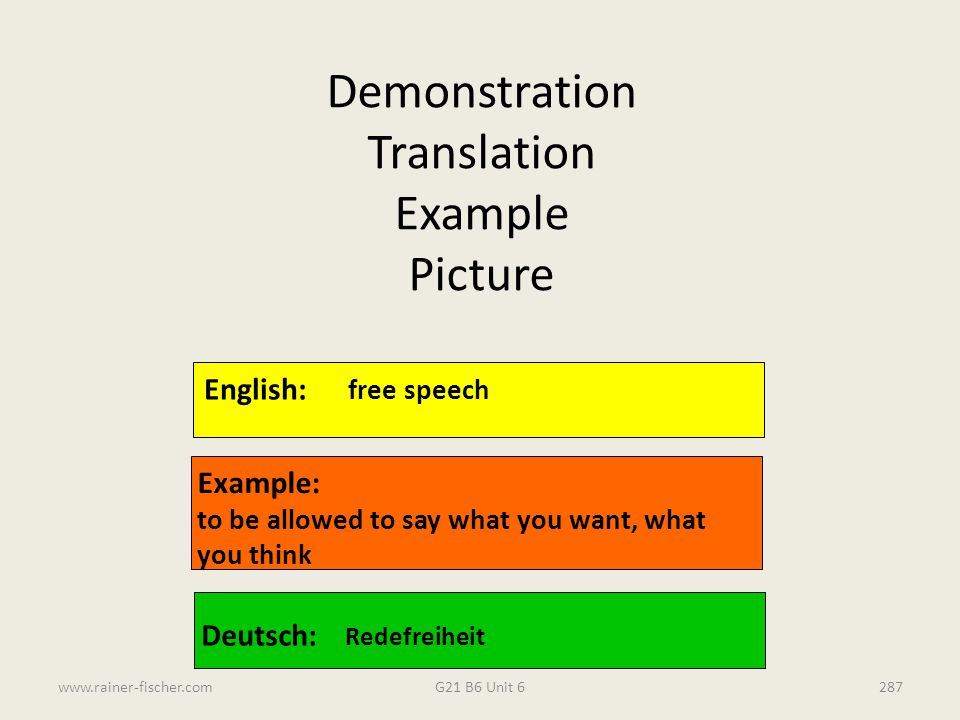 Demonstration Translation Example Picture English: free speech