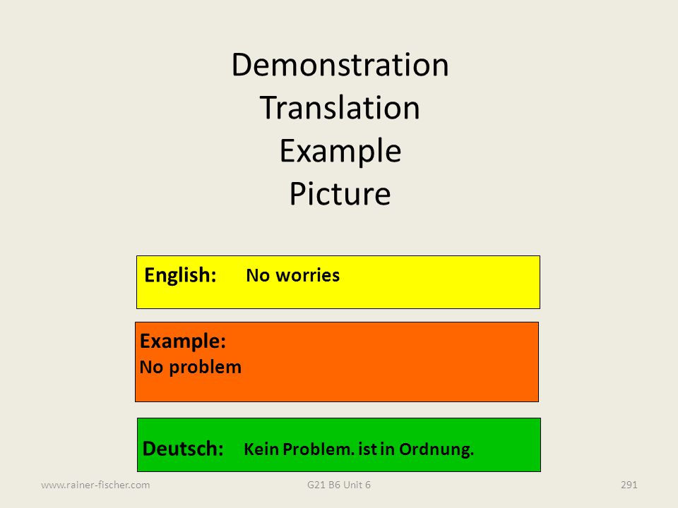 Demonstration Translation Example Picture English: No worries Example: