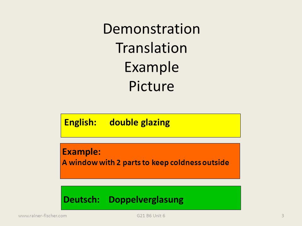 Demonstration Translation Example Picture English: double glazing