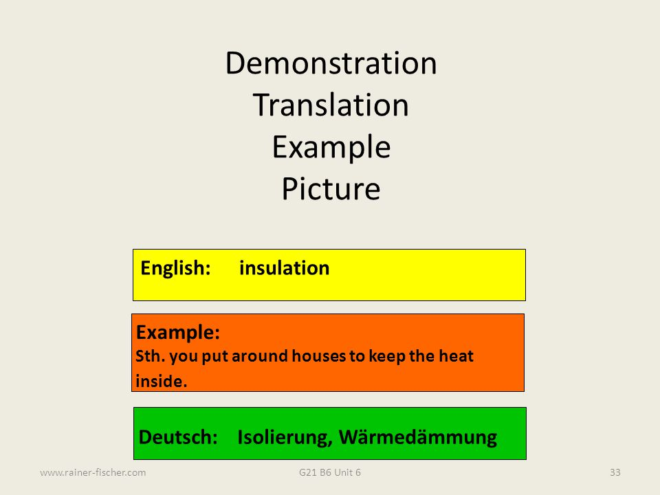Demonstration Translation Example Picture English: insulation Example: