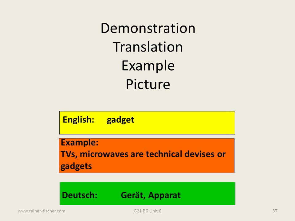Demonstration Translation Example Picture English: gadget Example: