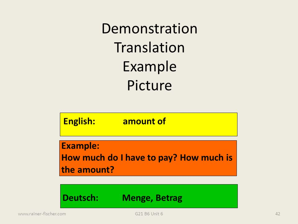 Demonstration Translation Example Picture English: amount of Example: