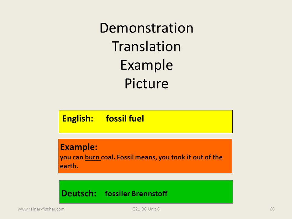 Demonstration Translation Example Picture English: fossil fuel