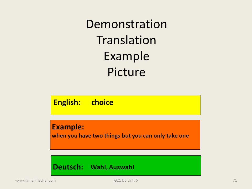 Demonstration Translation Example Picture English: choice Example: