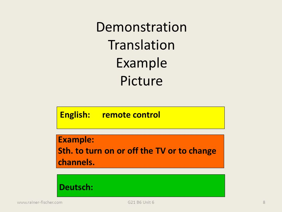 Demonstration Translation Example Picture English: remote control