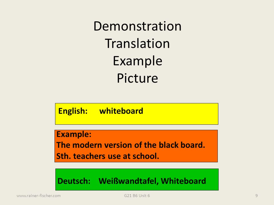 Demonstration Translation Example Picture English: whiteboard Example: