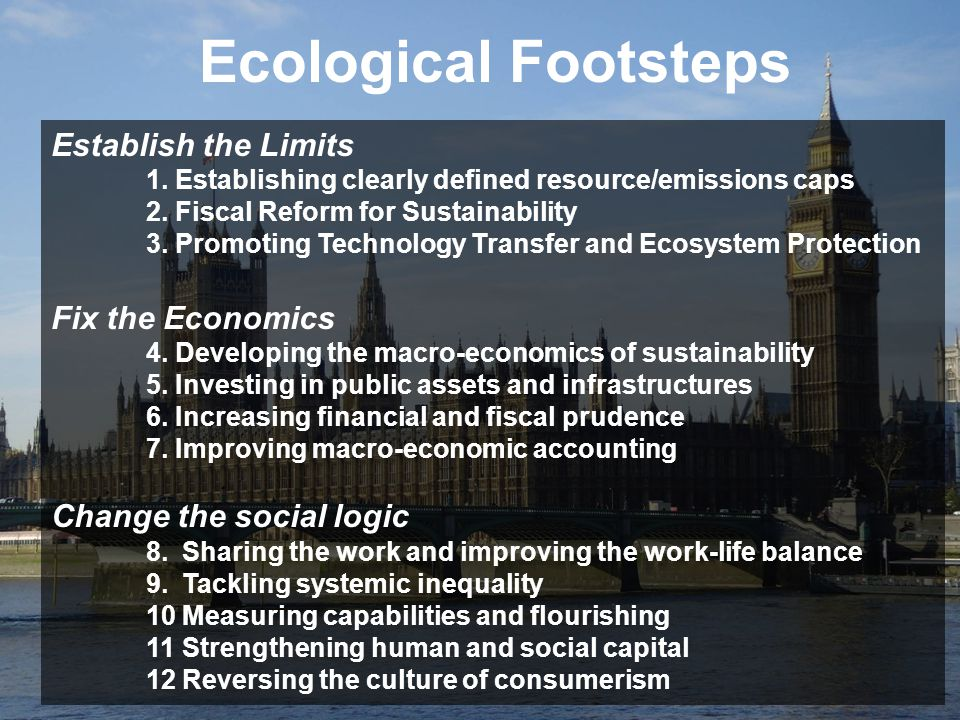 Ecological Footsteps Establish the Limits Fix the Economics