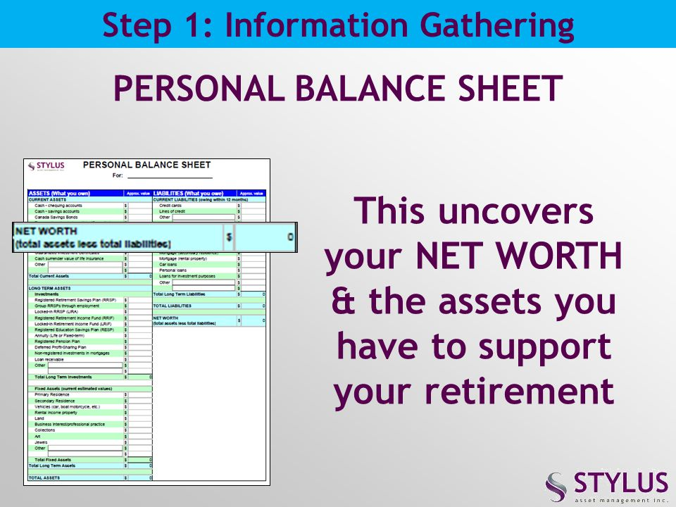 Step 1: Information Gathering PERSONAL BALANCE SHEET