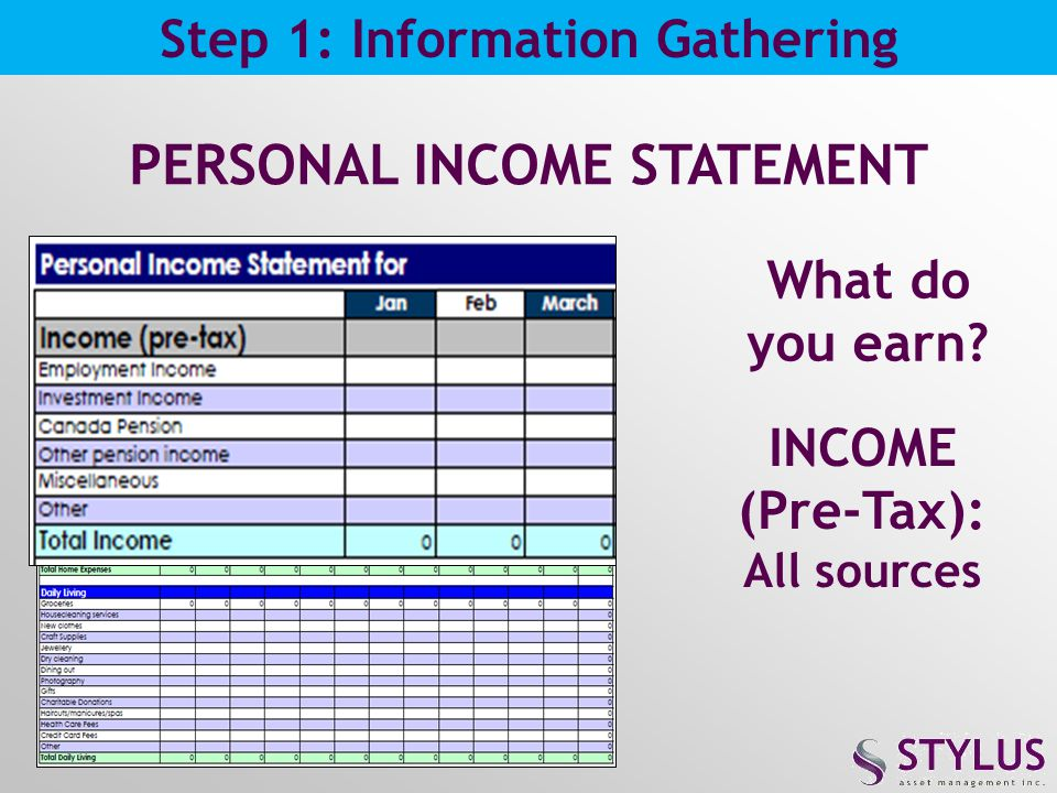 PERSONAL INCOME STATEMENT