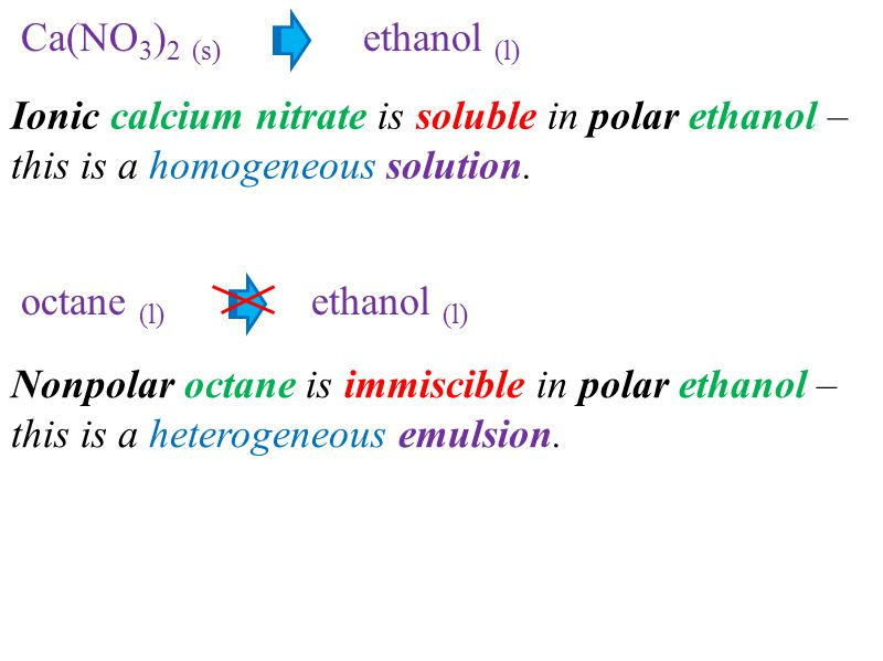 Ca(NO3)2 (s) ethanol (l) Ionic calcium nitrate is soluble in polar ethanol – this is a homogeneous solution.