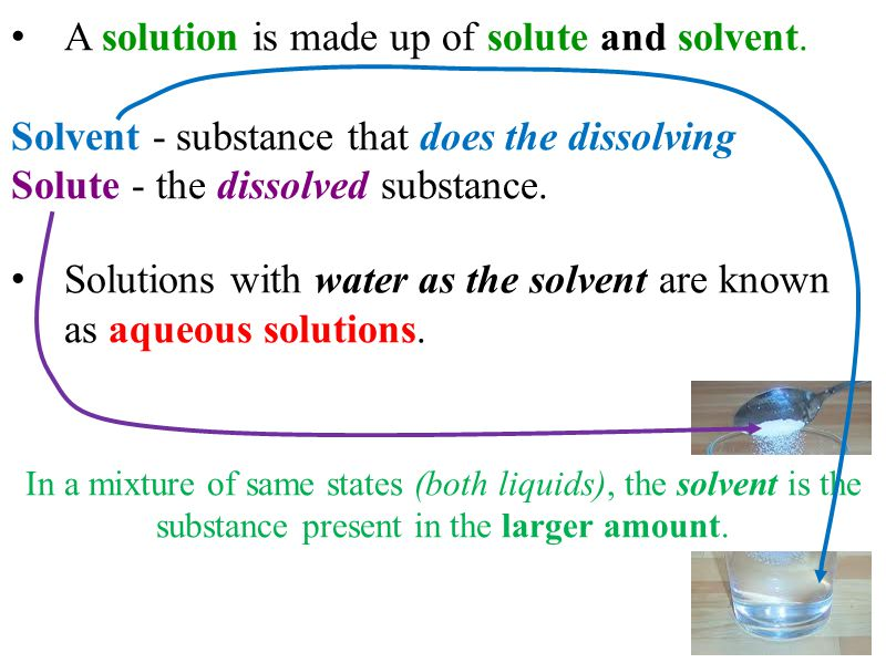 A solution is made up of solute and solvent.