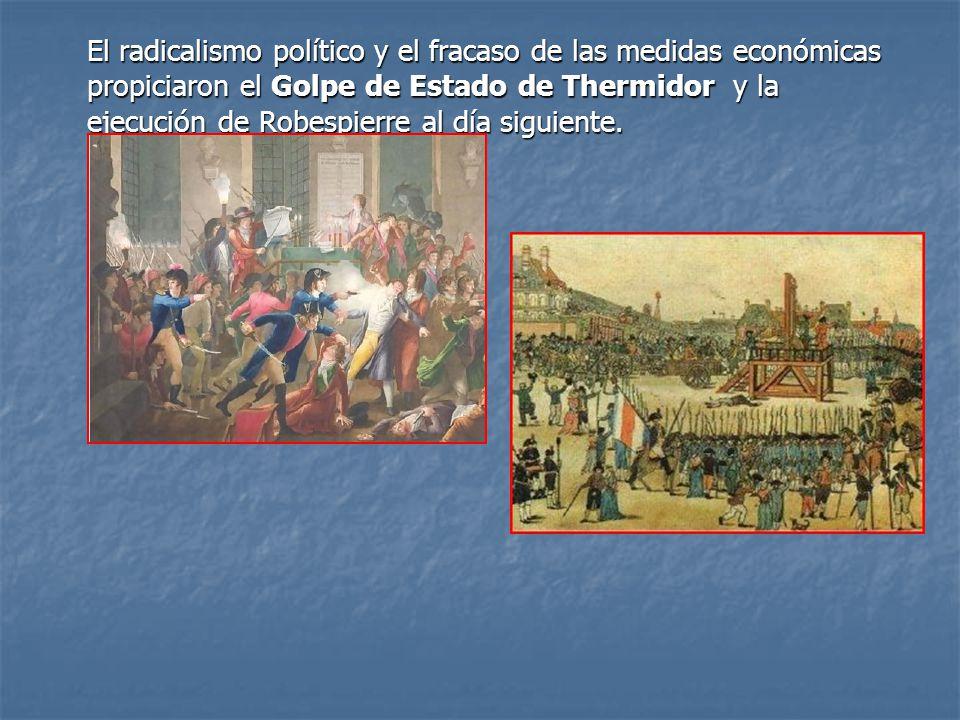 El radicalismo político y el fracaso de las medidas económicas propiciaron el Golpe de Estado de Thermidor y la ejecución de Robespierre al día siguiente.